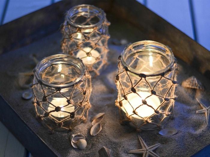 makramee windlicht selber machen fischernetz knüpfen zwei gläser windlicht makramee diy