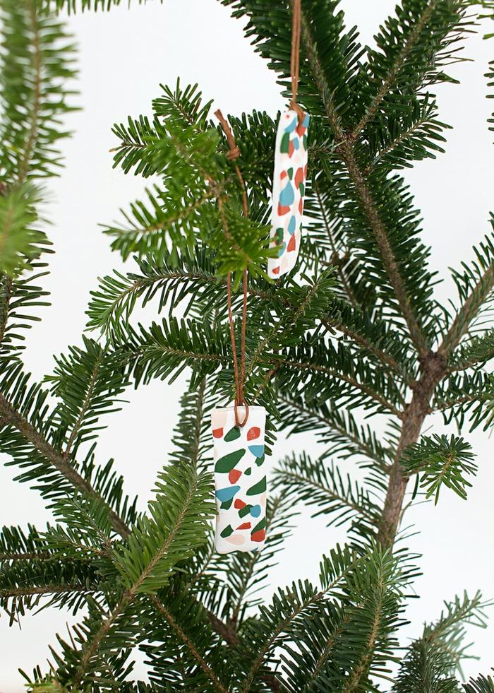 minimalistische dekoration weihnachten deko tannenbaum terrazzo