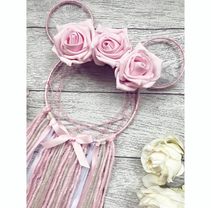minnie mouse traumfänger basteln anleitung pinke dekoration kinderzimmer mädchen diy ideen basteln