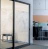 moderne inneneinrichtung küche glasschiebetür schiebetür terrasse ideen blaue fliesen weiße barstühle