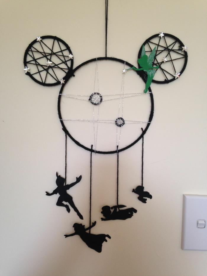 peter pan traumfänger basteln anleitung mickey mouse form kinderzimmer einrichtung dekoration kreativ