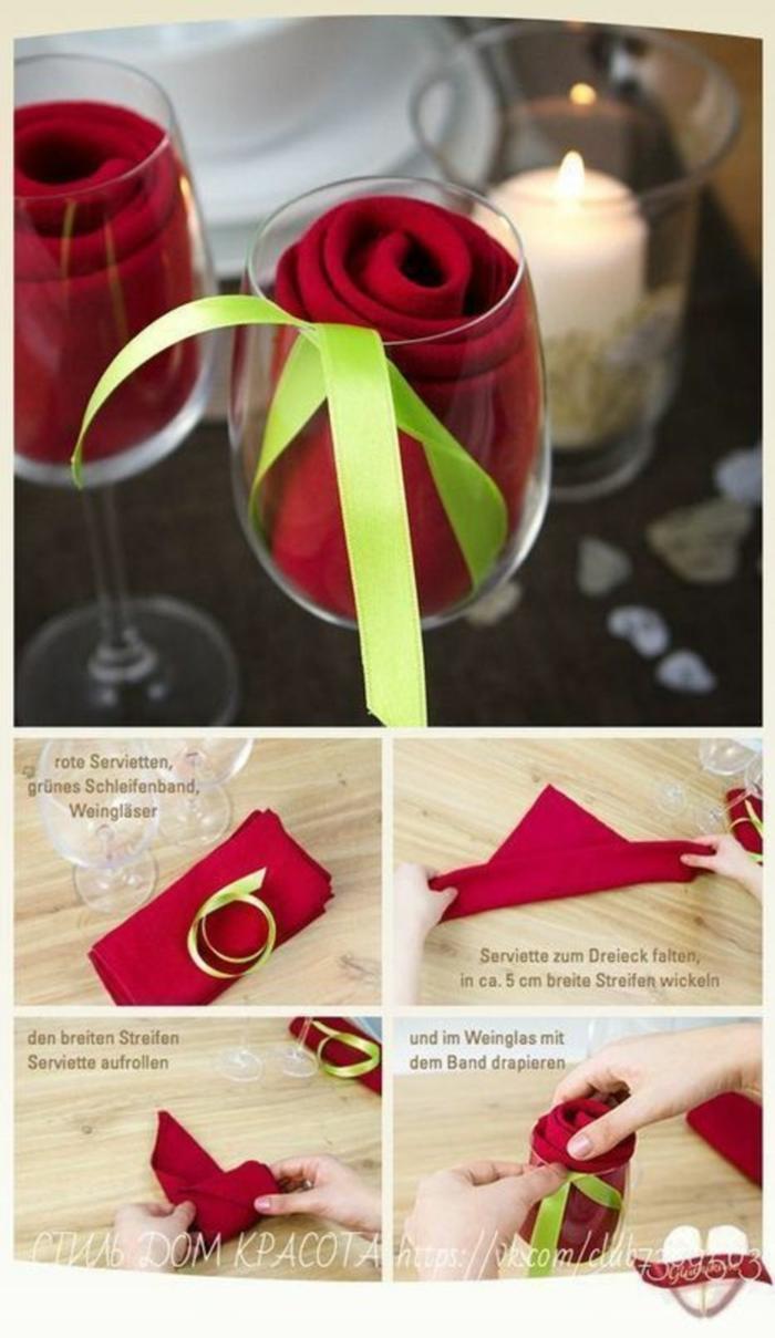 rose in glas anleitung diy servietten falten einfach und schnell papierservietten tischdeko kreativ weihnachten