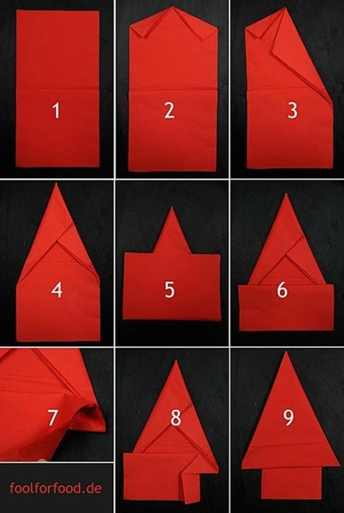 roter tannenbaum servietten falten anleitung weihnachtsbaum falten tischdeko selber machen diy erklärung