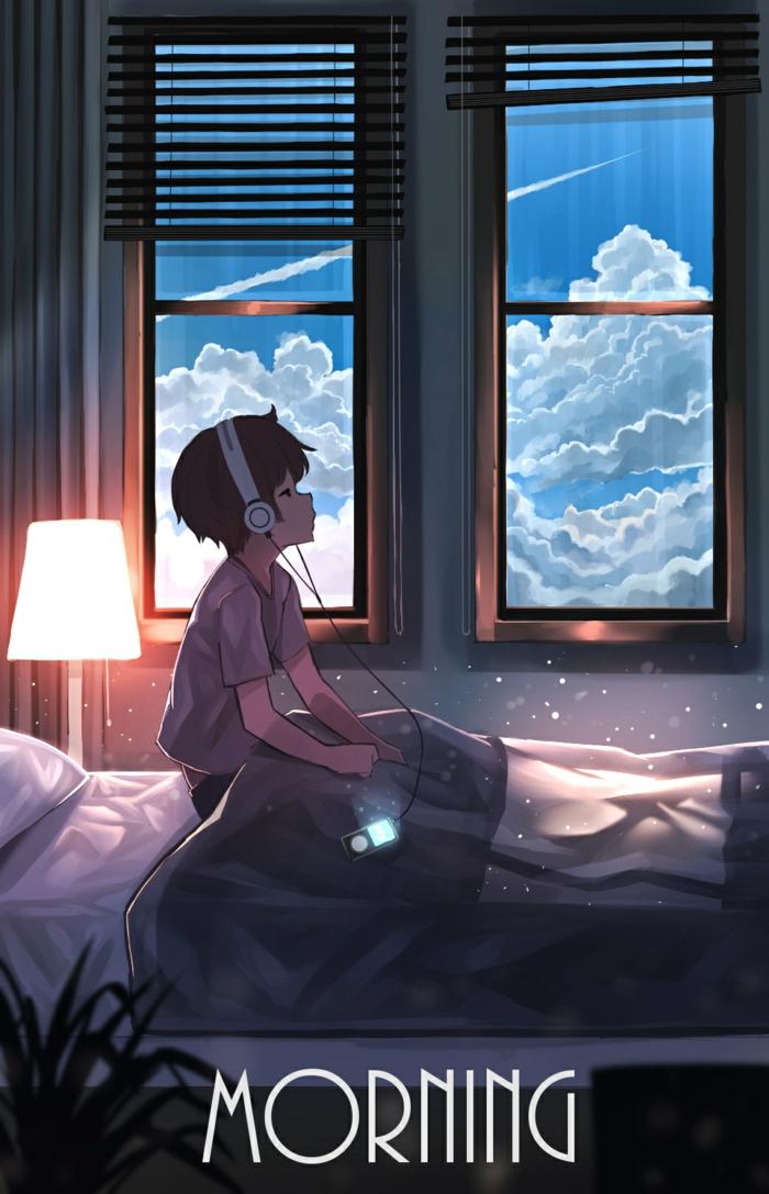 sad anime wallpaper handy junge wacht auf morgen kopfhörer anime wallpaper
