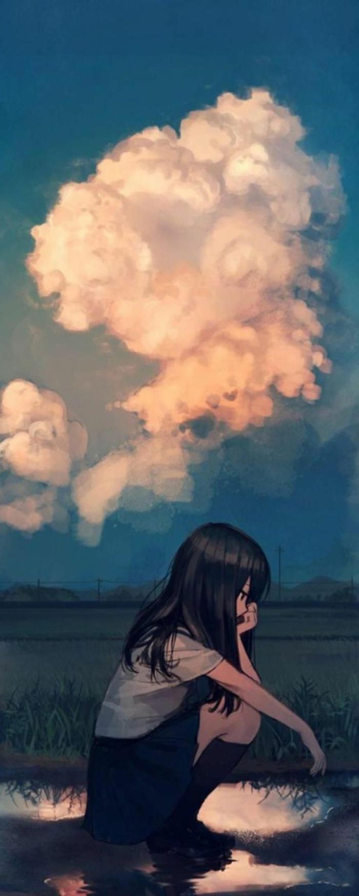 sad anime wallpaper iphone mädchen draußen regen große wolken