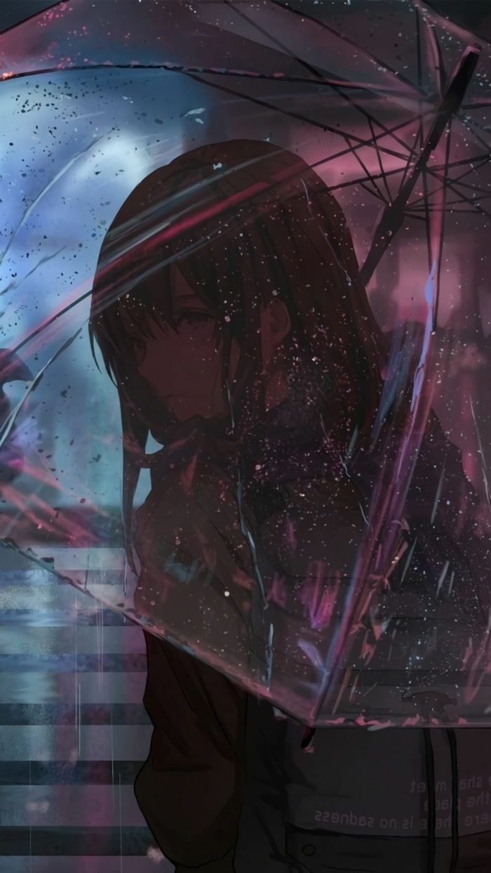 sad anime wallpaper phone mädchen traurig im regen regenschirm dunkel abend