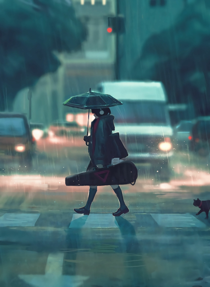 sad anime wallpaper regen mädchen mit ksten instrument regenschirm straße
