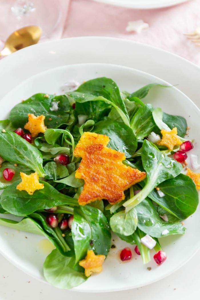salat weihnachten feldsalat polenta granatapfelsamen .schnelle vorspeisen weihnachten