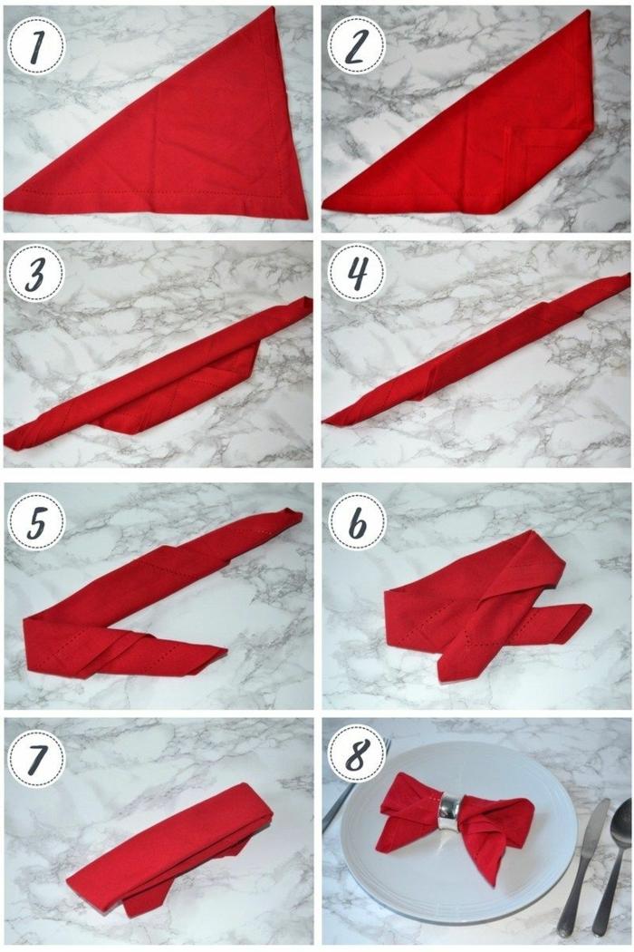 schleife servietten falten anleitung schritt für schritt anleitung schöne tischdeko weihnachten