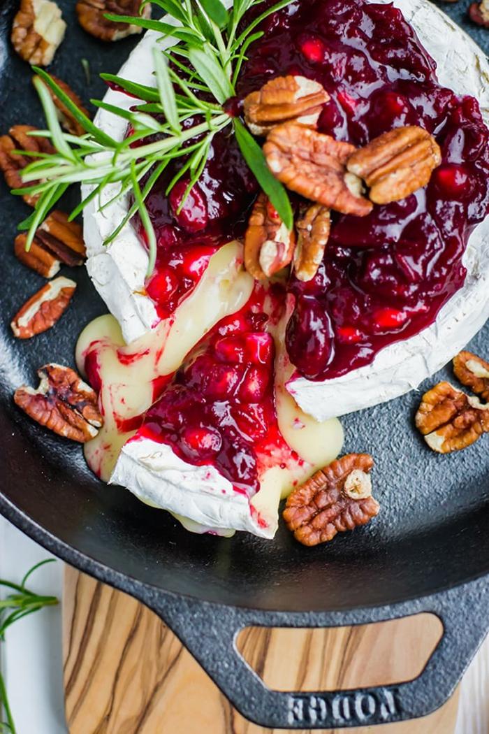 schnelle vorspeisen zum vorbereiten edle vorspeise rezept cranberry granatäpfel brie käse