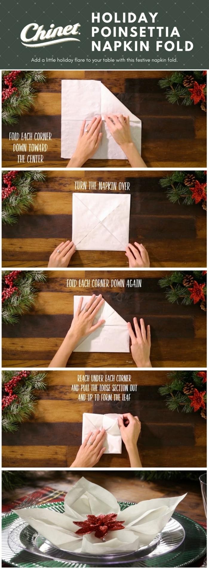 schritt für schritt erklärung servietten falten weihnachten einfach dekoration für den tisch poinsettie weihnachtsstern falten diy