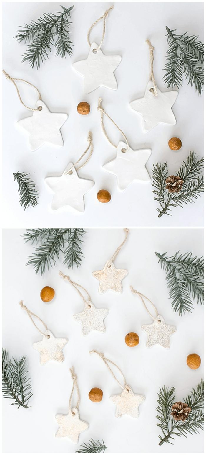 tannenzweige und tannenzweige weihnachtsbaum dekoration aus ton selber machen sterne ornamente mit glitzer tannenbaum