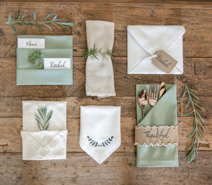 tischdeko selber machen weiße grüne servietten falten modern weihnachten tisch dekoration inspiration ideen