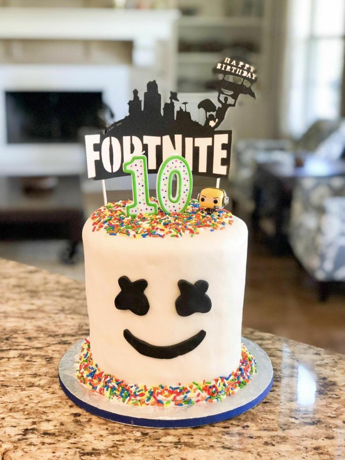 torte zum 10 geburtstag fortnite kuchen deko marshmallow dekoration party kuchen ideen inspiration
