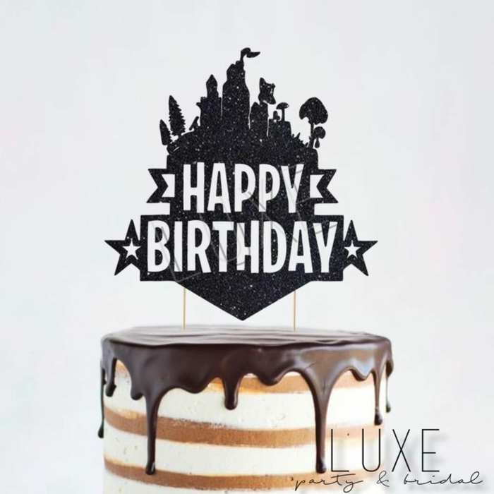 vanille torte schoko glasur fortnite tortendeko ideen kreativer tortenaufleger geburtstagsparty teenager ideen