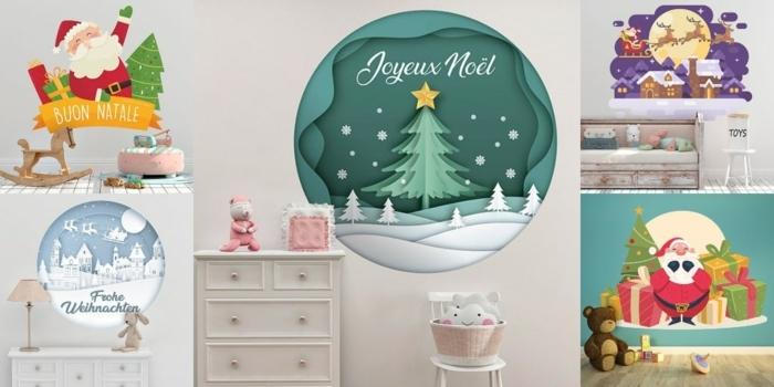 wandtattoo frohe weichnachten collage dekoration ideen weihnachtsmann rentiere geschenke kinderzimmer dekorieren