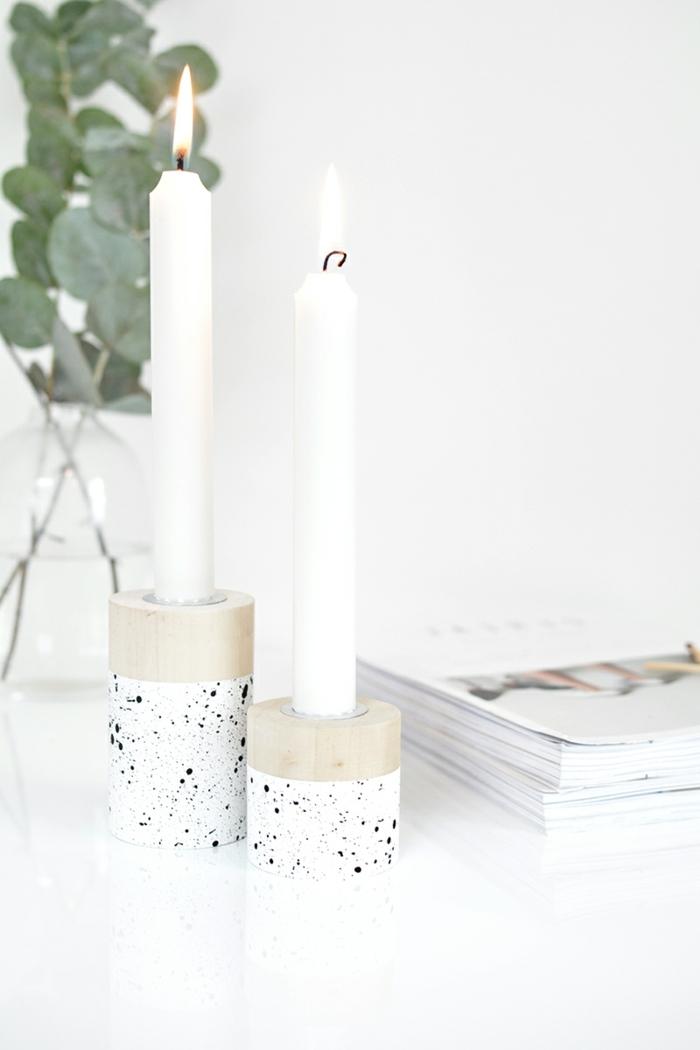 weihanchtsgeschenke selber machen kerzenhalter aus holz weiße kerzen geschenkideen zu weihnachten