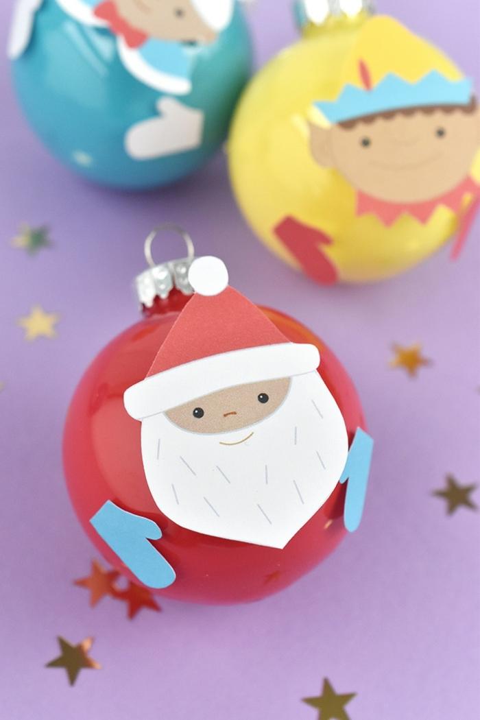 weihnachten basteln kinder weihnachtsman selber machen aus weihanchtskugel und papier freie vorlage