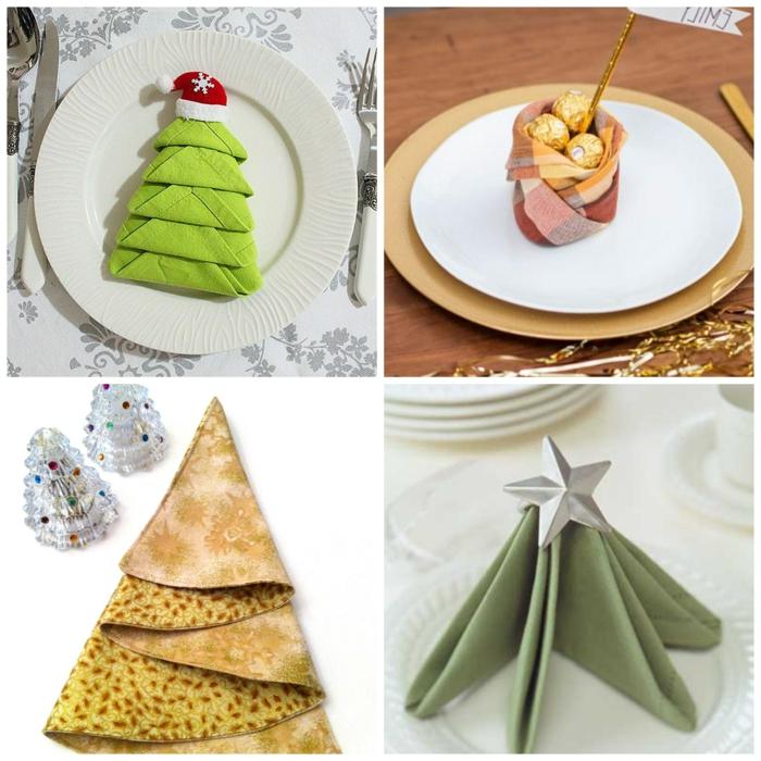 weihnachten dekoration für den tisch servietten falten tannenbaum kreative tischdeko