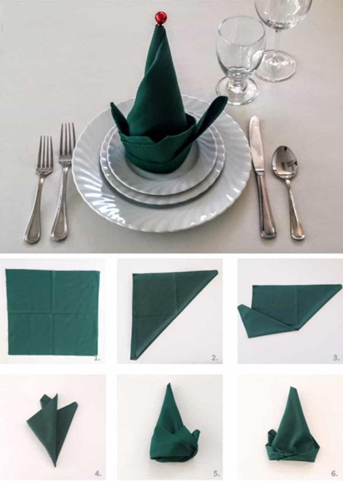 weihnachten tisch dekoration servietten falten einfach und schnell papierservietten elfenhut schritt für schritt anleitung weiße teller silber besteck