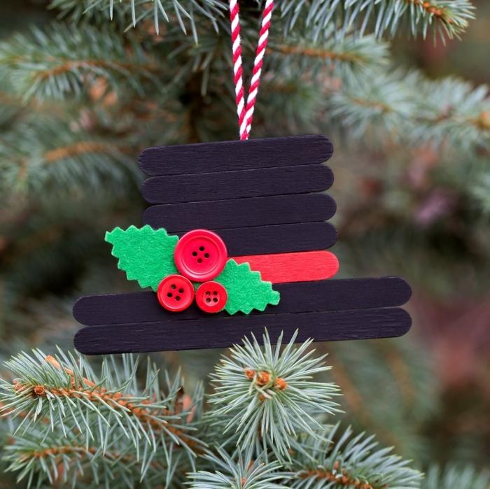 weihnachtsbasteln mit kindern christbaumschmuck selber machen hut aus holzstübchen basteln diy