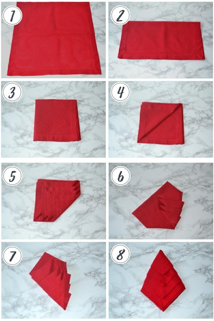 weihnachtsbaum rot servietten falten weihnachten einfach anleitung tischdekoration weihnachten selber machen kreative bastelideen