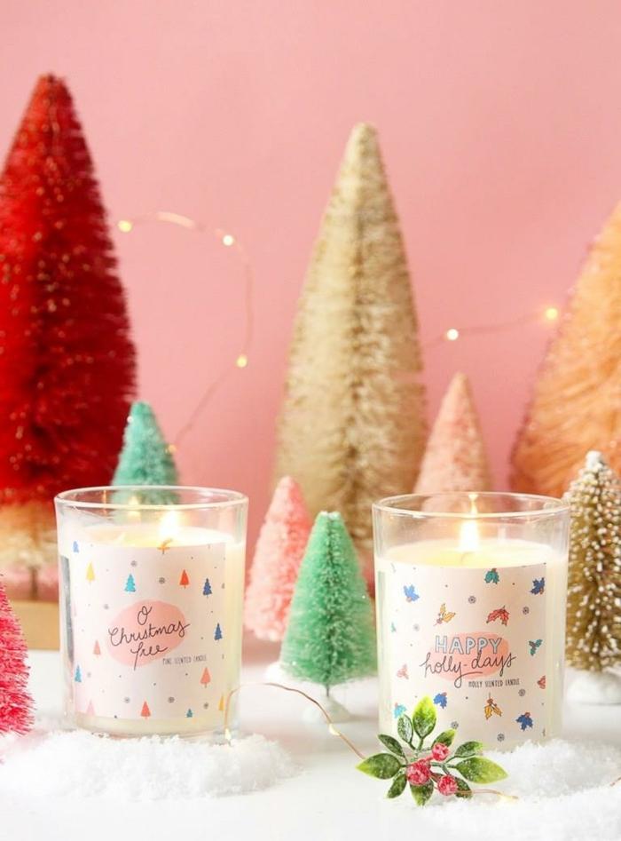 weihnachtsgeschenke selber machen selbstgemachte weihanchtskerzenweißekerzen moderne weihnachtsdeko