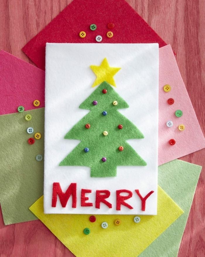 weihnachtskarten basteln kinder karten basteln festliche deko tannenbaum mit großem stern diy ideen