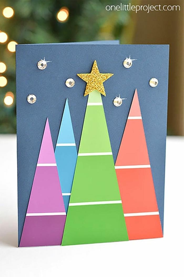 weihnachtskarten basteln kinder tannenbäume im ombre look sterne aus strassteinchen basteln mit papier