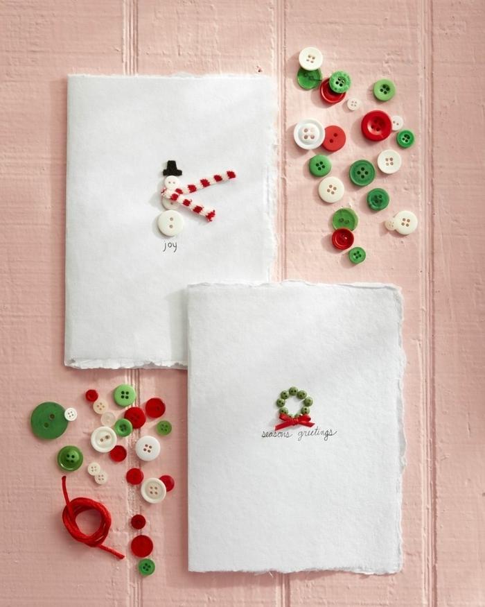 weihnachtskarten basteln kinder weiße kerten mit knöpfen dekorieren kartendeko ideen festlich