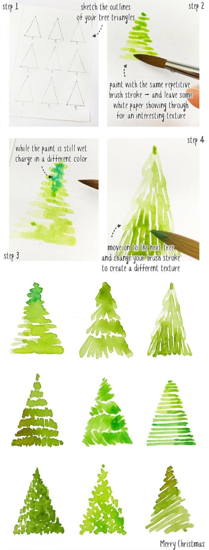 weihnachtskarten basteln kinder weihanchtsbaum malen schritt für schritt methoden anleitungen tananbaum designs