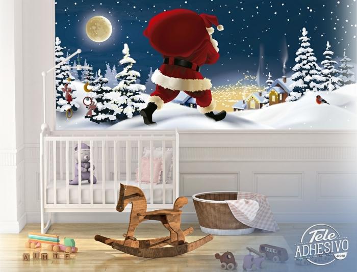 weihnachtsmann verteilt geschenke wandtattoo weihnachten originelle dekoration ideen große tapete kinderzimmer