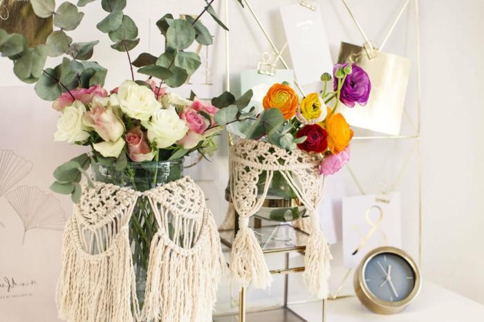 windlicht makramee diy makramee vase mit blumen und pflanzen zwei