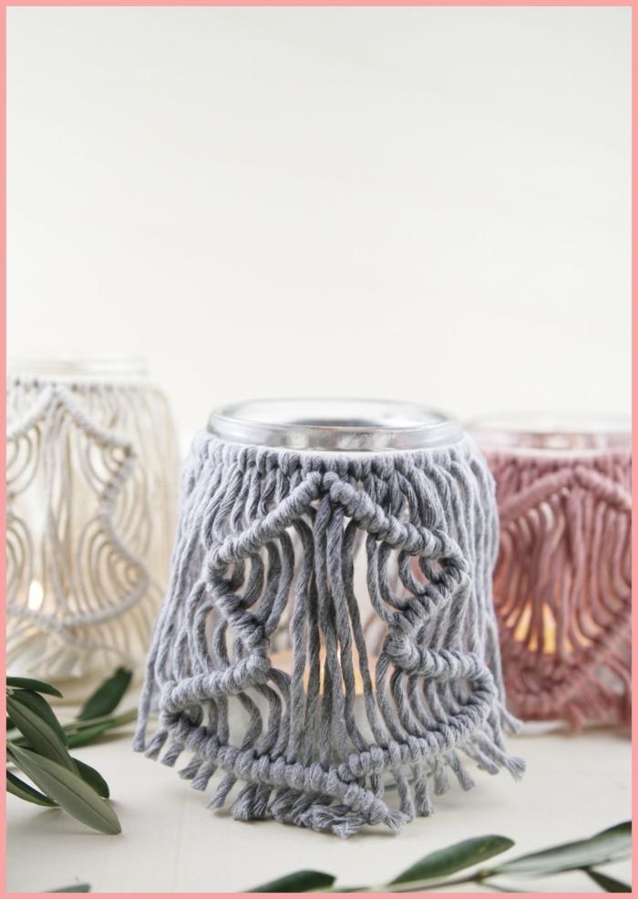 windlicht makramee selber machen anleitung makramee kerzenglas drei einmachgläser rosa grau weiß