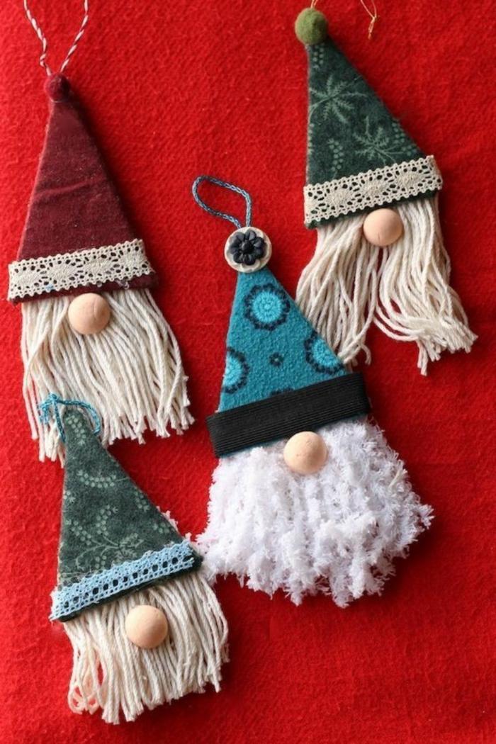 zwerge selber basteln moderner weihnachtsbaum deko diy ornamente für tannenbaum