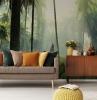 2 tropische motive fototapeten inspiration inneneinrichtung wohnzimmer tapete tropischer wald bunte kissen