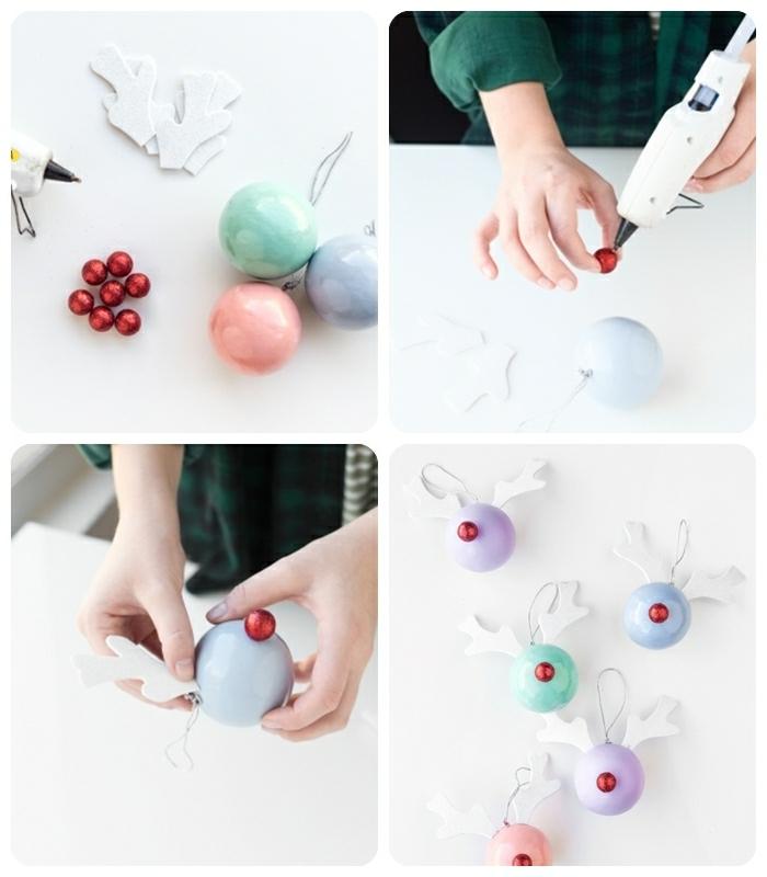 außergewöhliche weihnachtsdeko selber machen weihnachtskugeln wie hirsche dekorieren einfache anleitung basteln mit kindern zu weihanchten