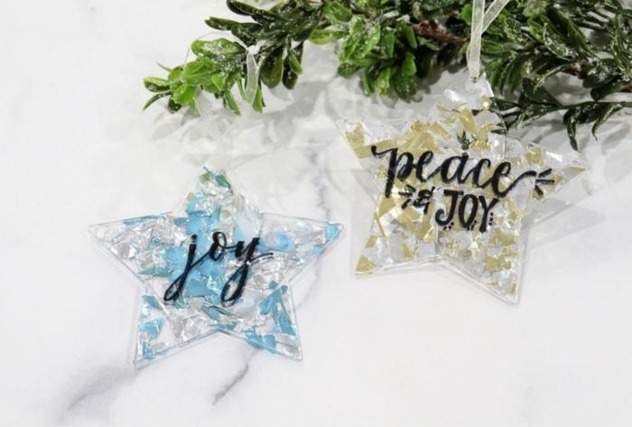 bastelideen weihnachten einfach chritstbaumschmuck basteln glitzer sterne weihnachtskugeln tannenbaumdeko außergewöhnlich