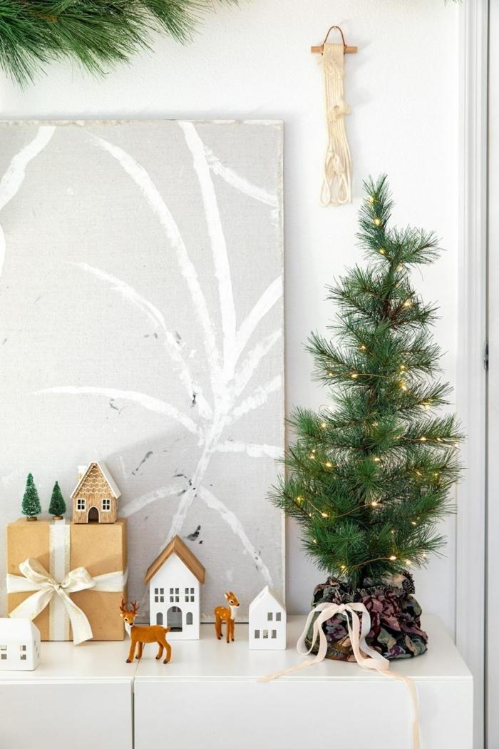 bastelideen weihnachten einfach geschenk zu weihnachten kleiner tannenbaum pfalnze verpacken winterdeko