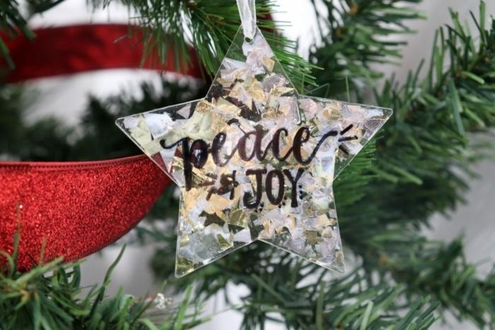bastelideen weihnachten einfach weihnachtskugeln weihnachtsstern dekoriert mit gliter elbstgemachter christbaumschm