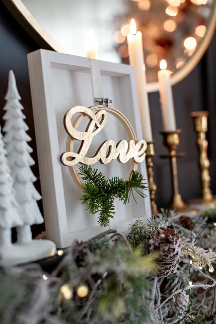 bastelideen zu weihanchten zum verschenken bild love weißer rahmen selbstgemachte deko weihnachtsdeko ideen