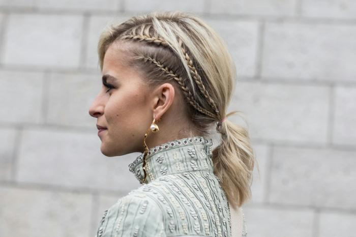 caro daur frisur inspiration geflochtene frisuren haatschnitt mittellang blonde haare weißes kleid