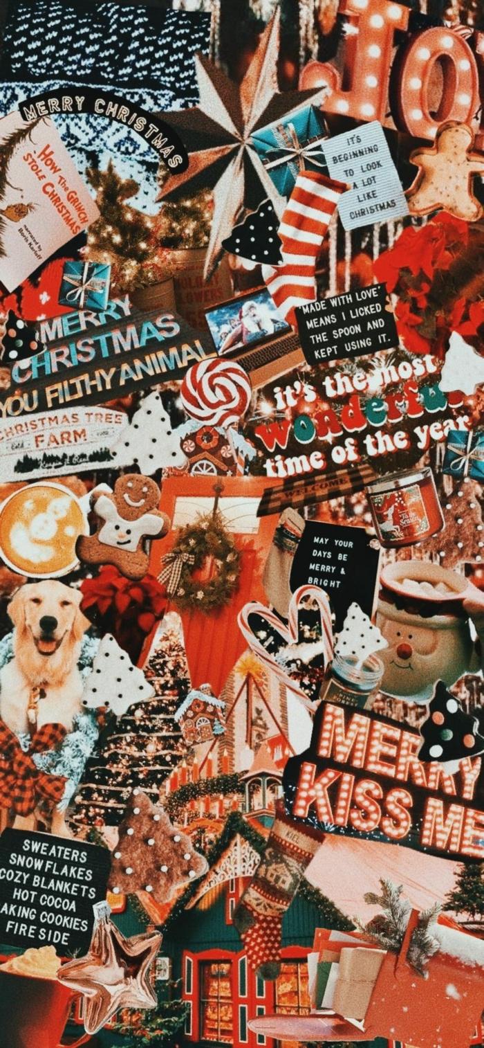 christmas wallpaper festliche bilder rote ästhetik hübsche hintergrundbilder weihnachten handy collage