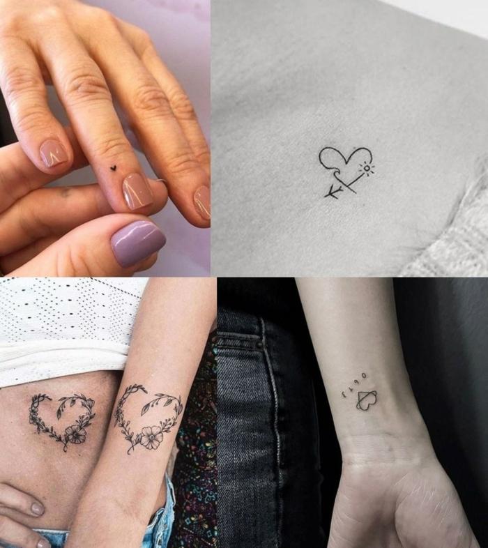 collage inspiration kleine tattoo ideen verschiedene herzen finger handgelenk arm tätowierungen inspiration