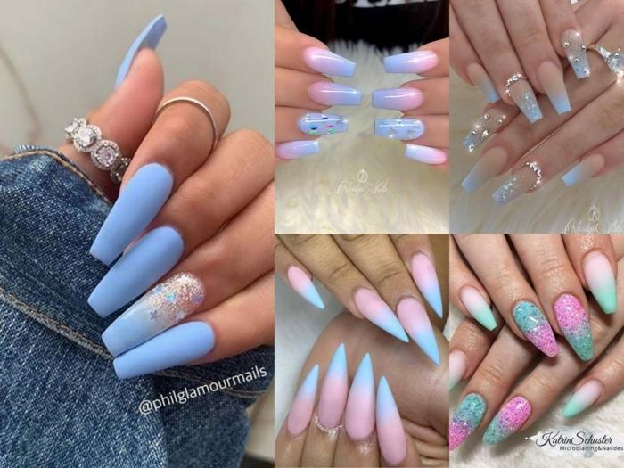 collage verschiedene nageldesigns bunte pastellfarben mit glitzer blau rosa nägel ombre ideen blaue jeans jacke