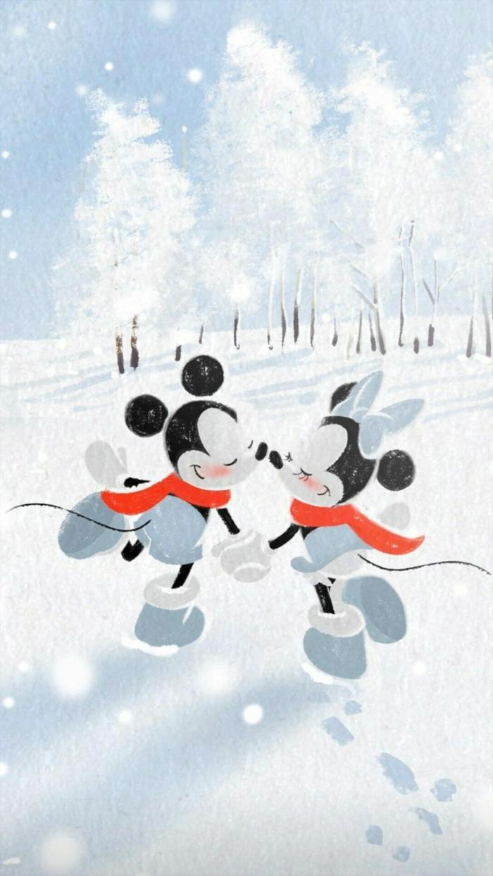 disney hintergrundbilder handy weihnachtsbilder kostenlos downloaden mickey mouse minnie mouse schlittschuhlaufen süße bilder weihnachten