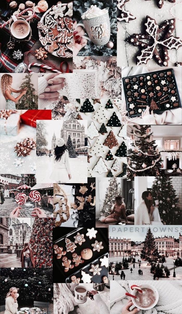 festliche collage weihnachten bilder dekorierte tannenbäume weihnachtsplätzchen handy weihnachtshintergrund kostenlos