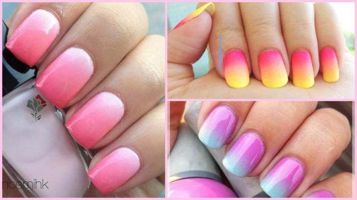 gelnögel ombre in verschiedene farben gelb rosa pink blau lila inspiration hand hält nagellack