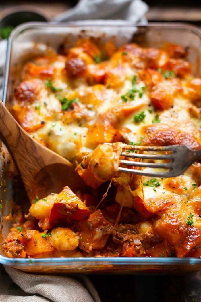gnocchi zutaten kartoffel gnocchi gnocchi kochen auflauf mit hackfleisch kürbis käse backen schnell rezepte mit gnocchi