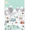 hübsche hintergrundbilder handy weihnachten zeichnung kleine stadt bergen schlittschuh laufen auf eisbahn kreative bilder